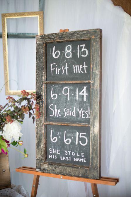 cartel de boda hecho de pizarra