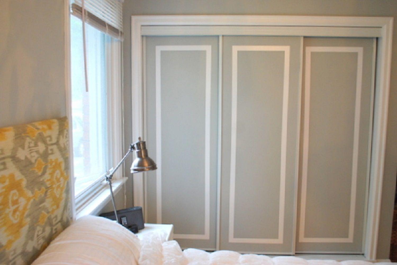A closet door with painted trim