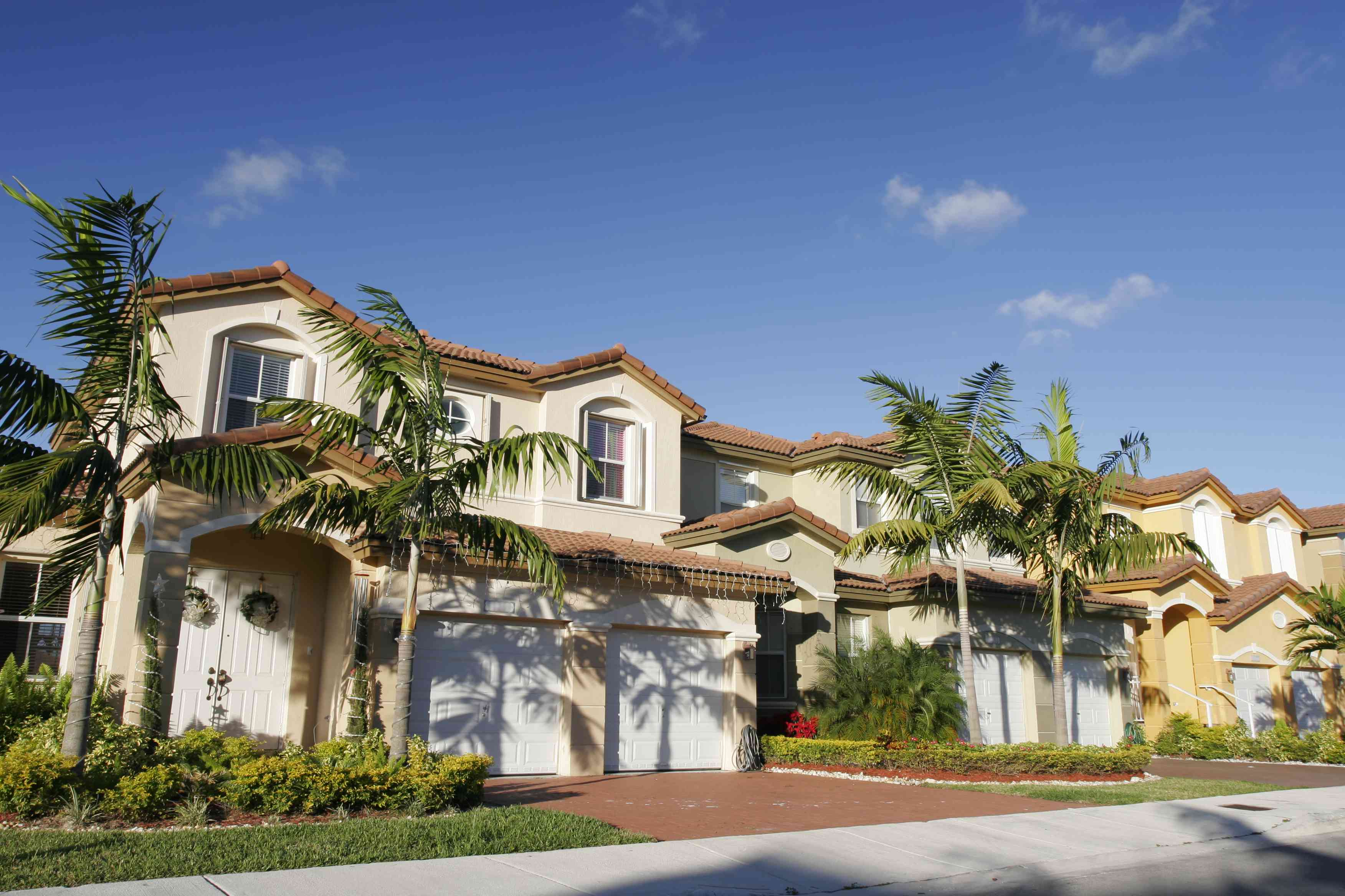 a row of Mediterranean-style homes