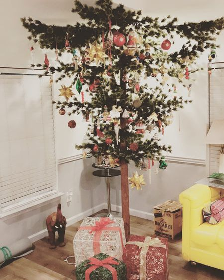 Glam Pink, Gold, and Green Upside Down Christmas Tree - 21 Best Upside Down Christmas Tree Decorating Ideas