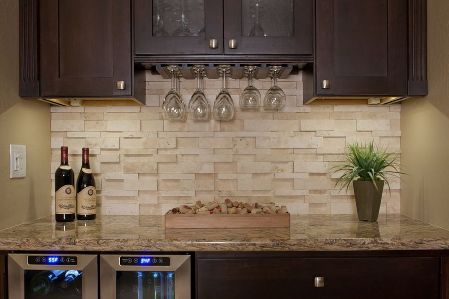 Stacked stone in Arizona kitchen