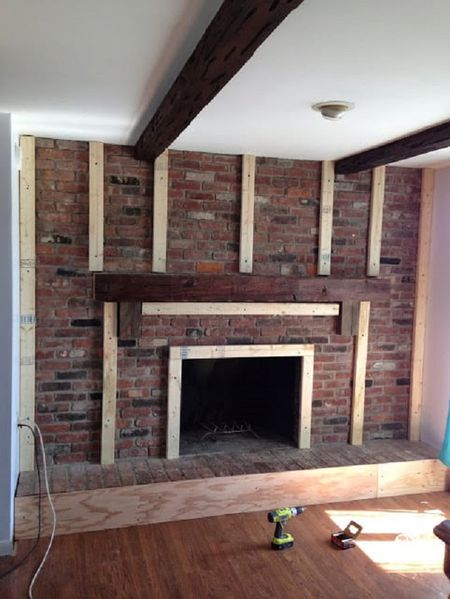 Before Large Brick Fireplace
