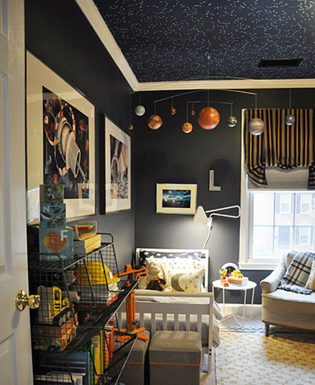 Space-themed kid's room with star-painted ceiling mural