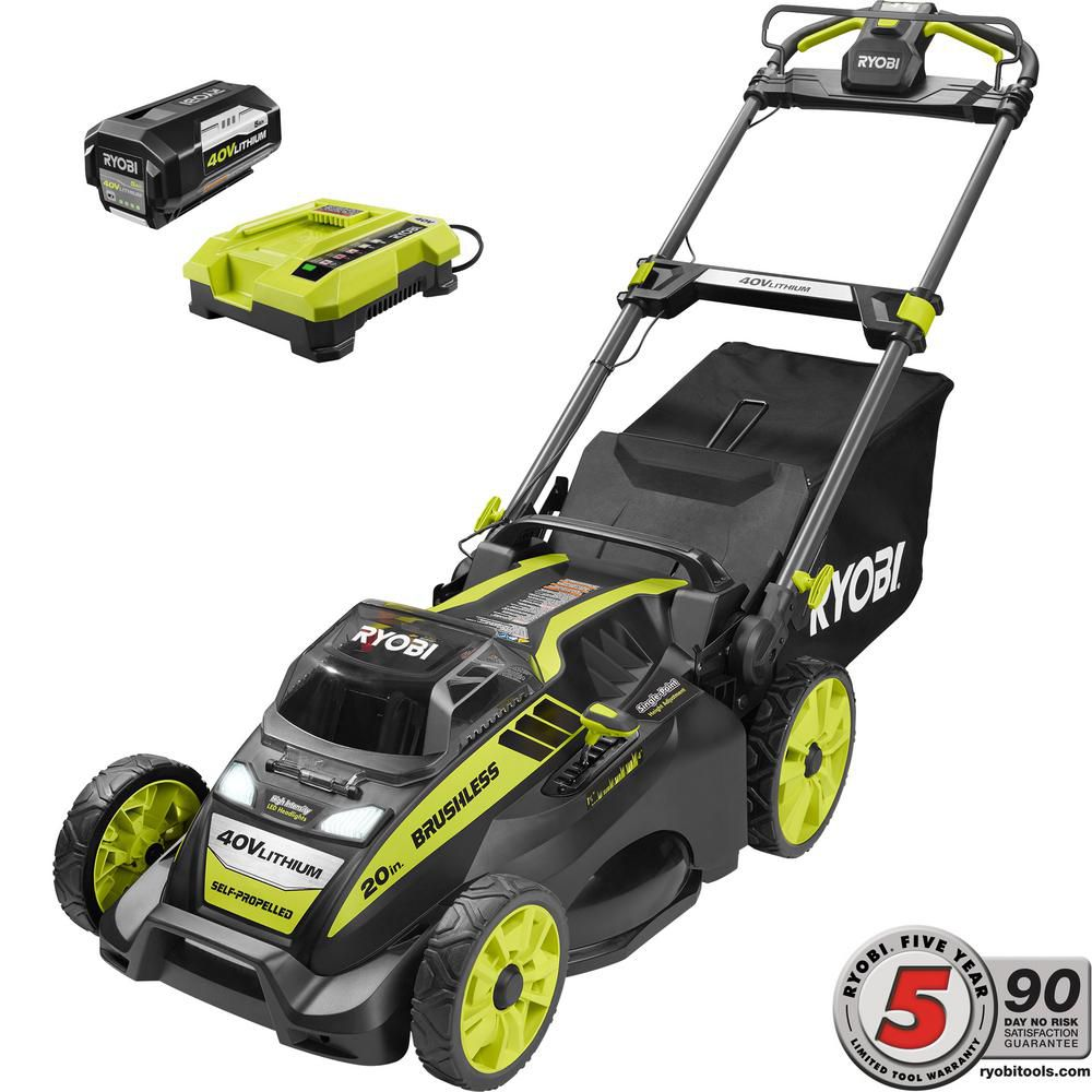5f06ba5a8 Best Self-Propelled: Ryobi 20 in. 40-Volt Brushless Lithium-Ion Cordless  Self-Propelled Walk Behind Mower