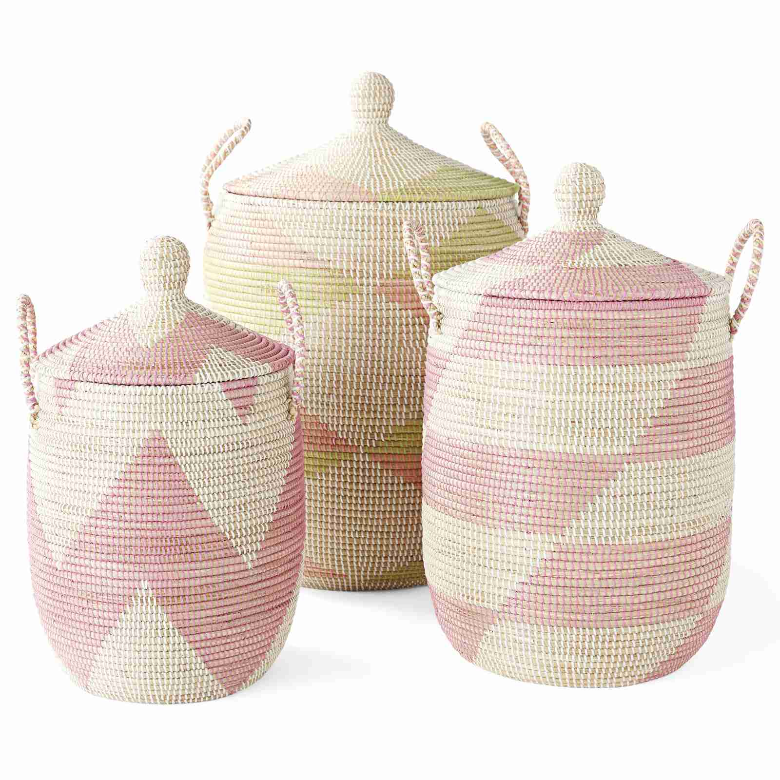 Pink and white woven baskets