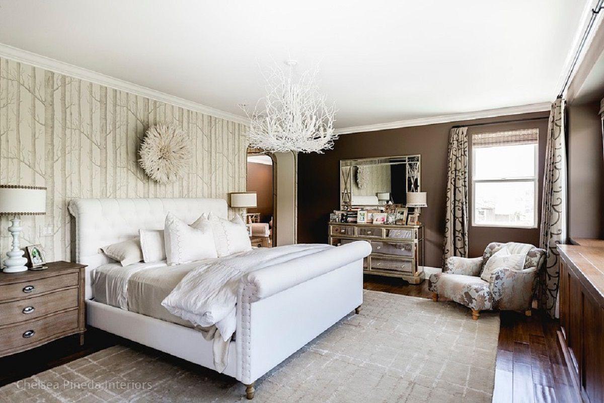 Habitación glamorosa con papel tapiz de abedul