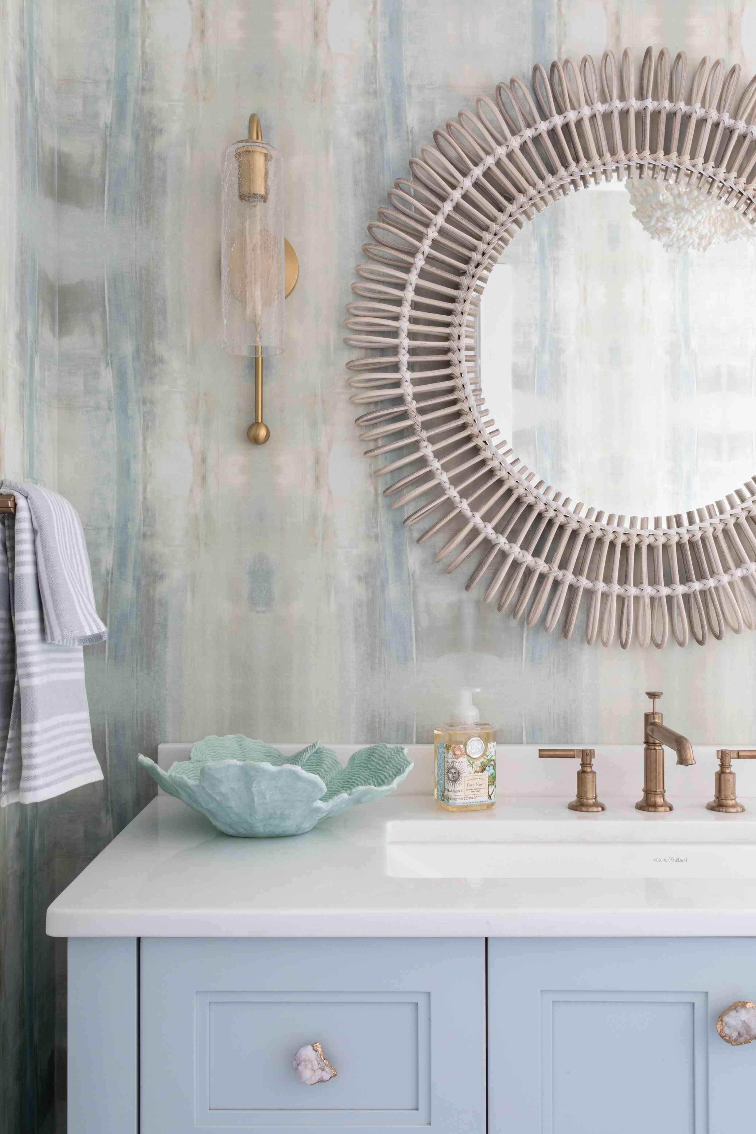 A bathroom in the Long Beach Island home of Karen B. Wolfe