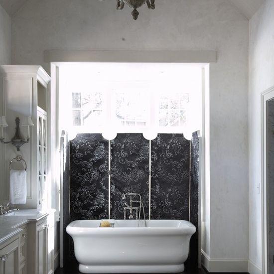 Gothic bathroom with wood floors