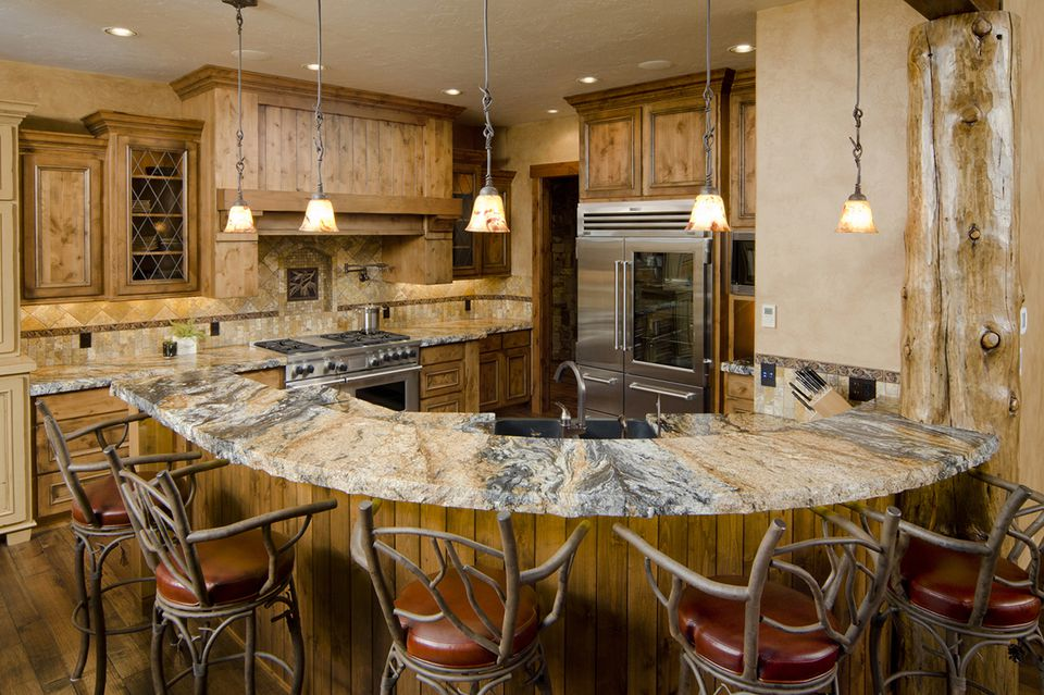 Modern Rustic Kitchen Marble Countertops