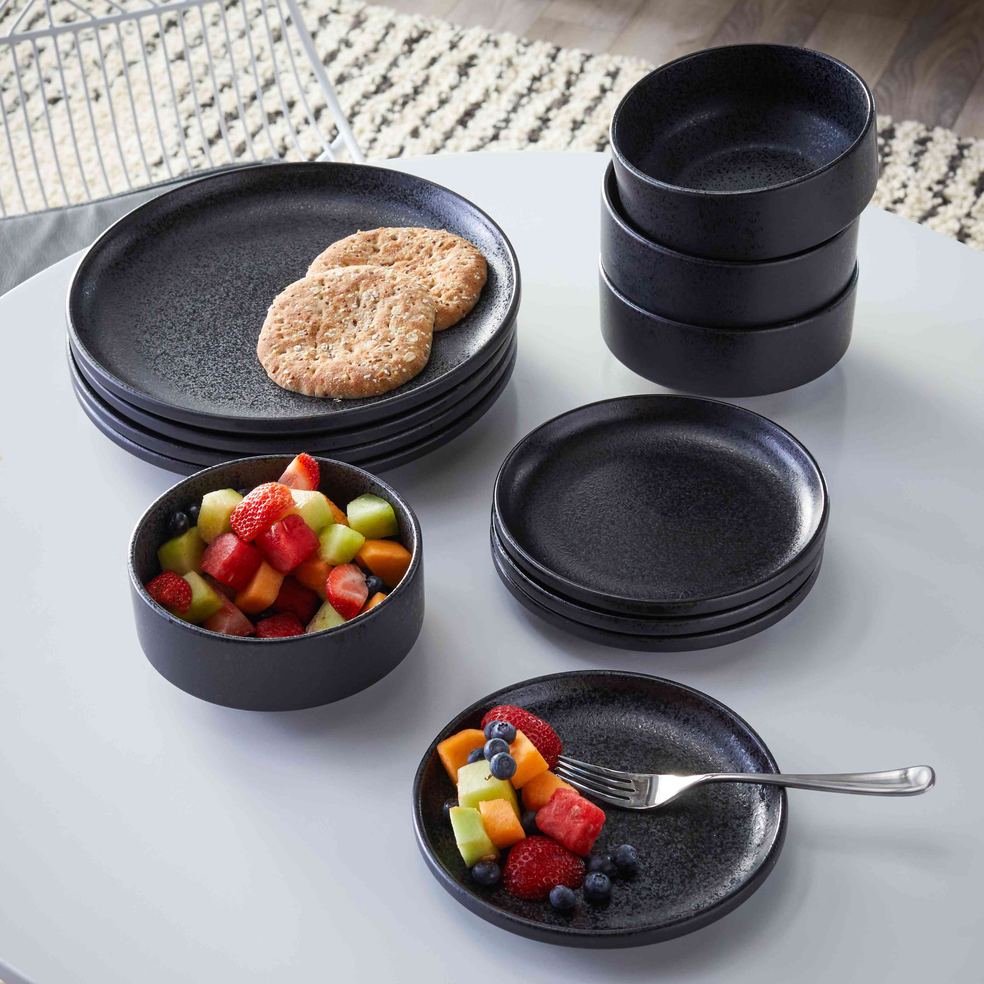 MoDRN Scandinavian 12 Piece Dinnerware Set, Black