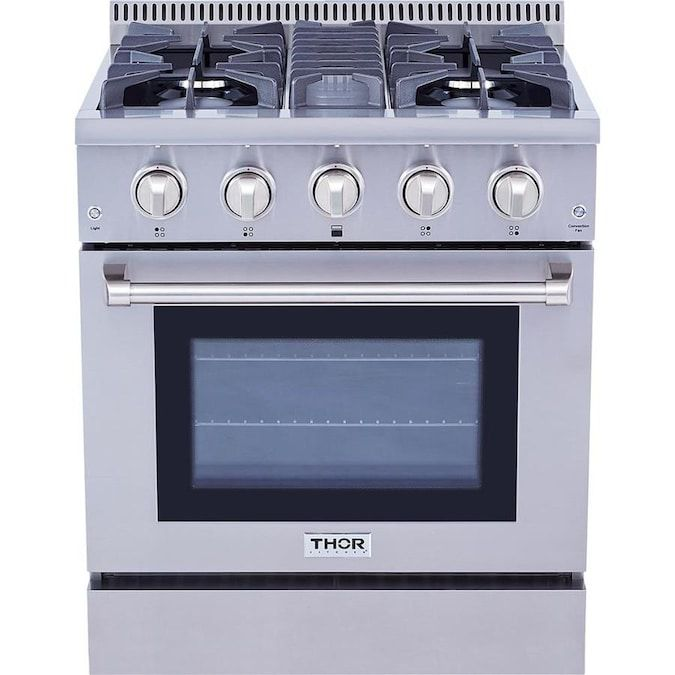 The Thor Kitchen HRG3080U Professional 30 in. Freestanding Gas Range has four burners and a stainless steel finish.