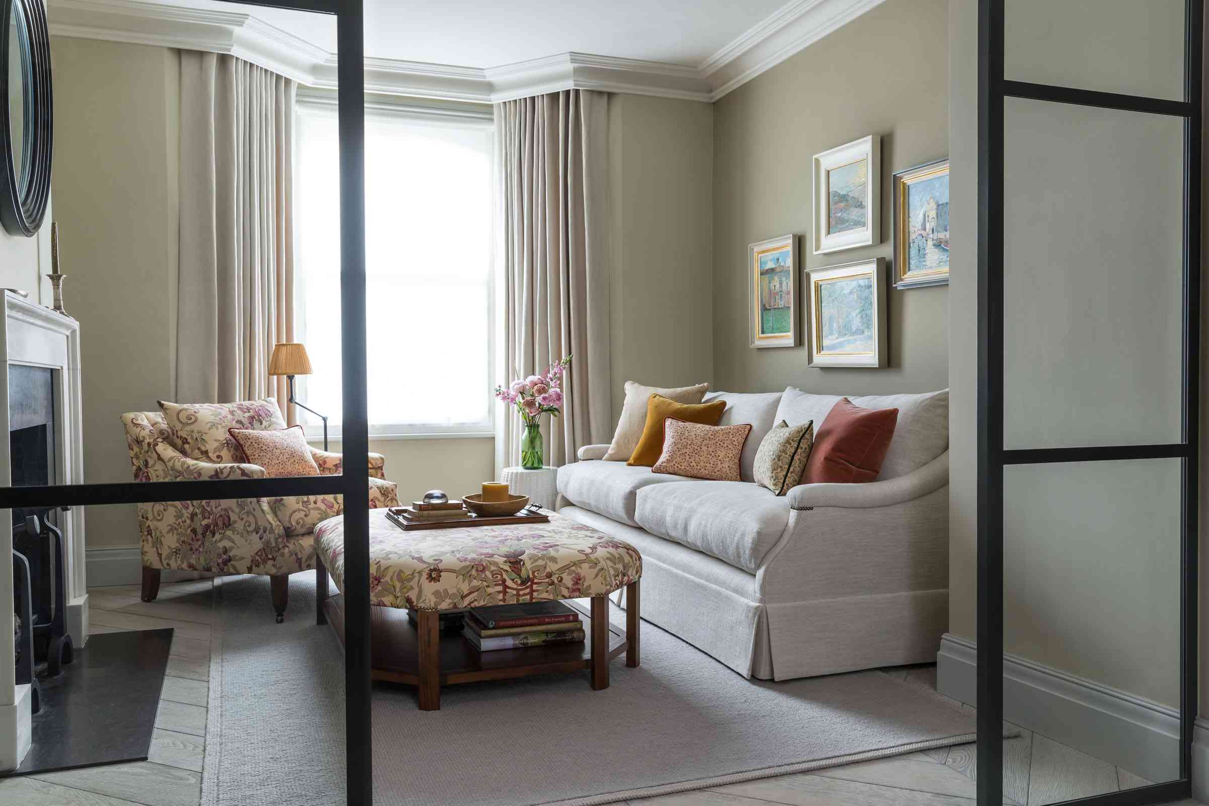 fresh flowers are featured in this autumnal living area