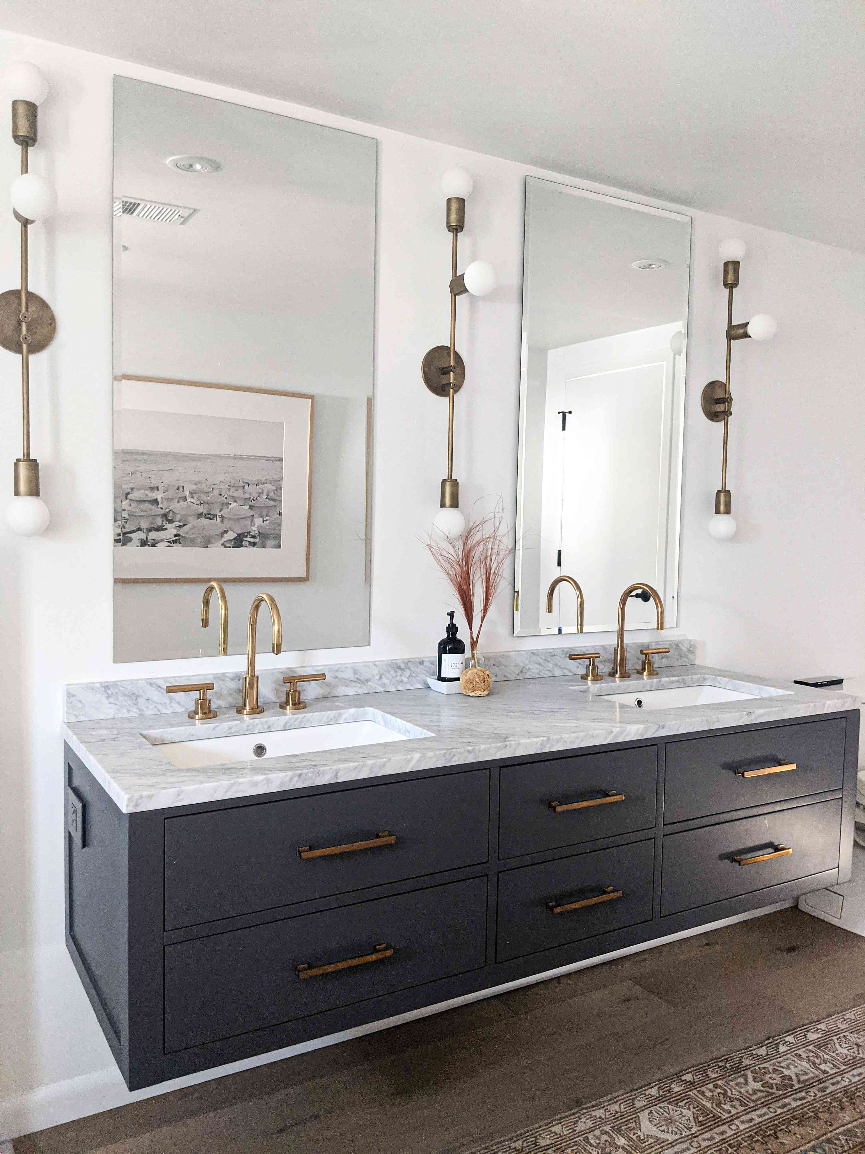 The vanity in the primary bathroom of Molly & Fritz's Shaker Heights home