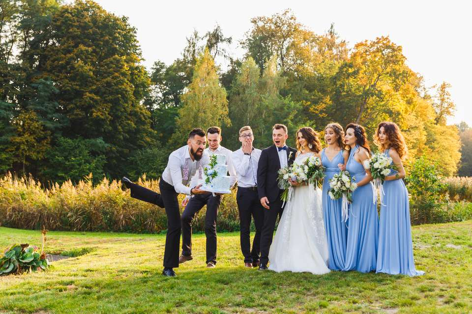 Bridesmaids and groomsmen lined up for photos