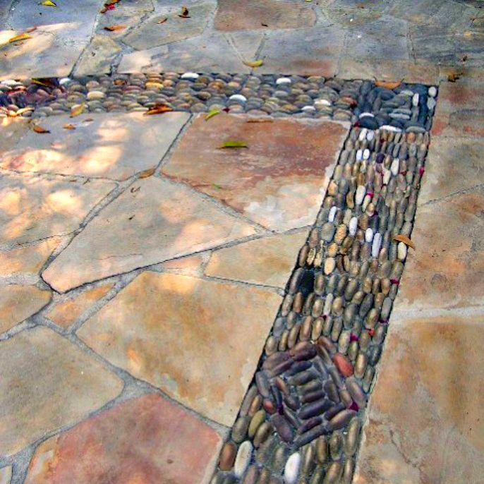 river rock with flagstone
