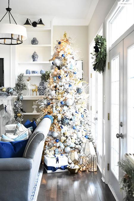 navy blue and gold christmas tree