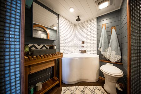 corner tub with corner shower tiny heirloom - Tiny House Bathroom Ideas