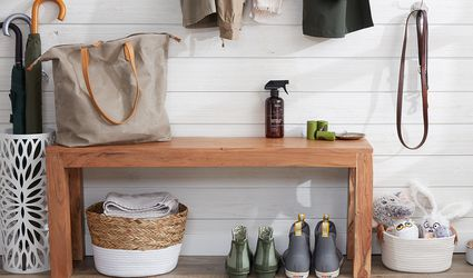 mudroom with under bench storage
