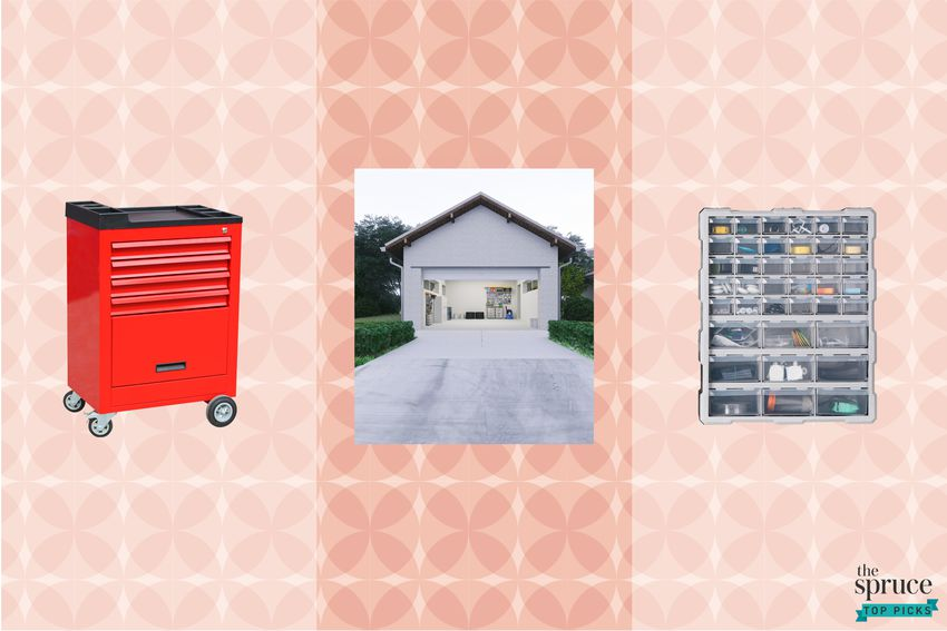 Photo composite of a tool kit, a garage, and organizers over a pink patterned background.