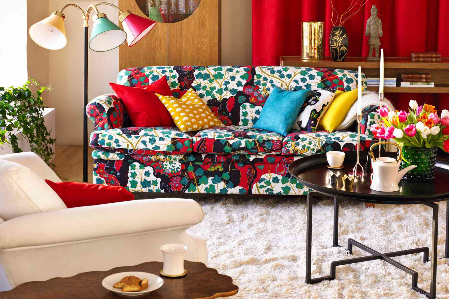 statement sofa in a living room