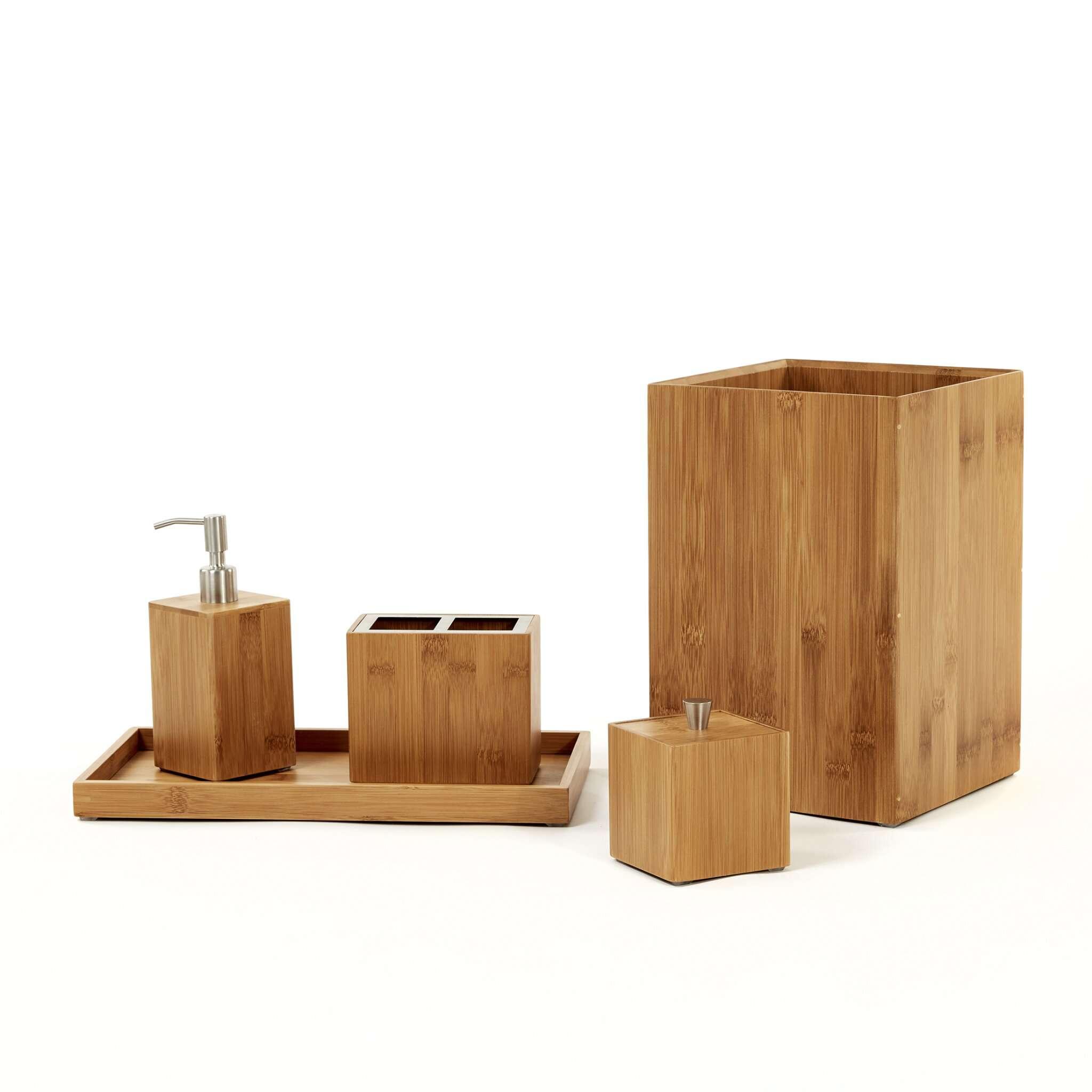AllModern Cillian Bamboo 5-Piece Bathroom Accessory Set