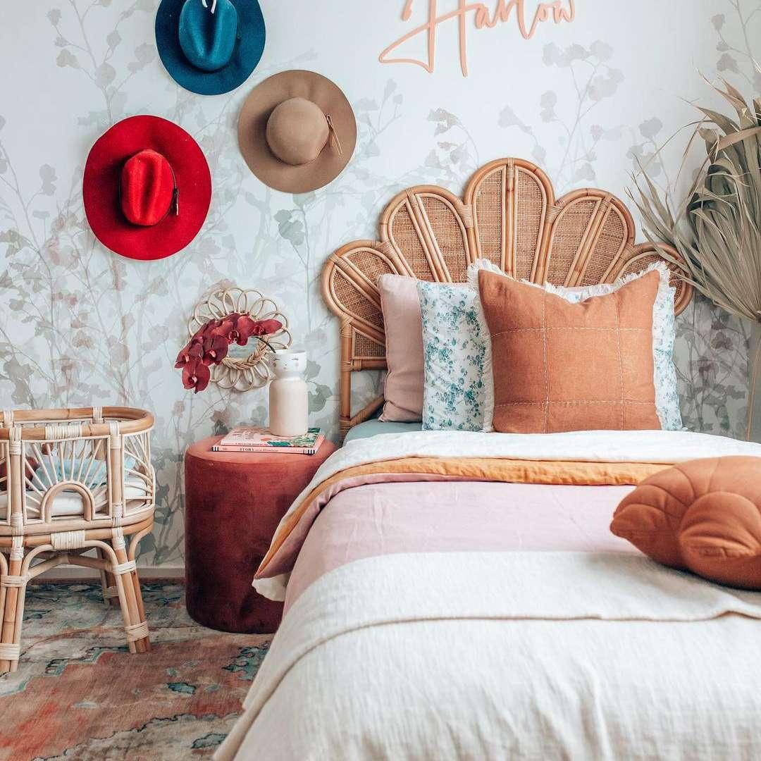 Boho bedroom with rattan headboard