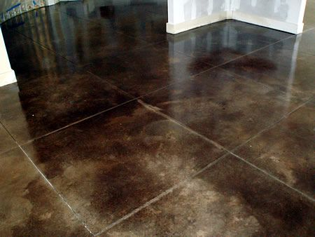 Acid Stained Floor With Etched Faux Grout Lines