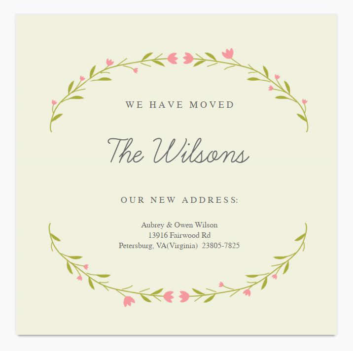 49 free change of address cards moving announcements floral moving announcement template from greetings island maxwellsz
