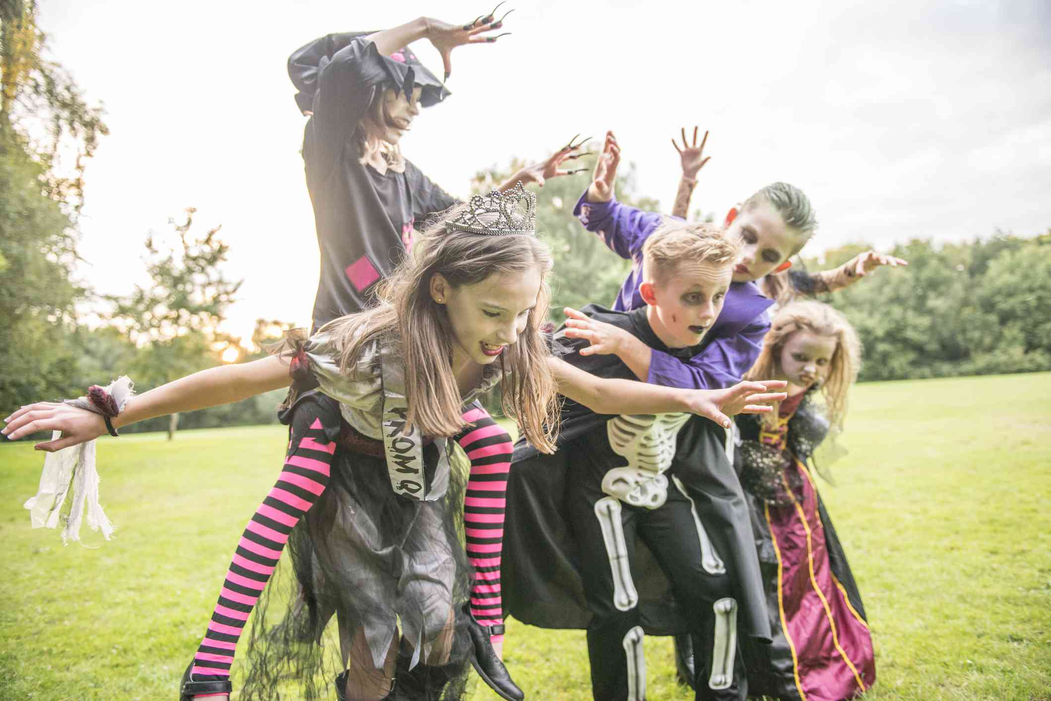 Children dressed as zombies for Halloween Night