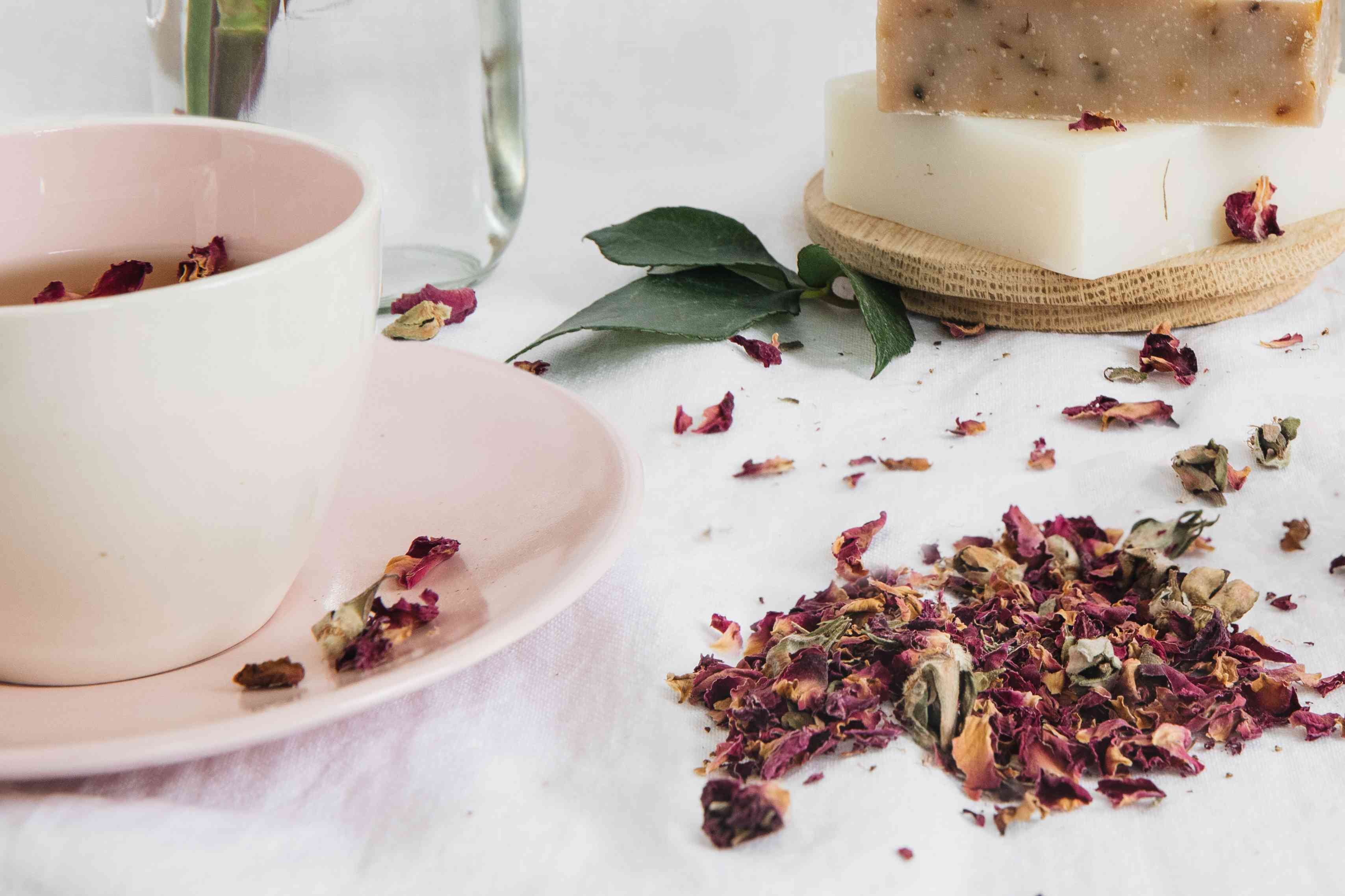 rose infused tea and soap