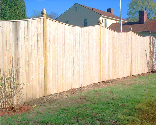 Picture of a scalloped fence.