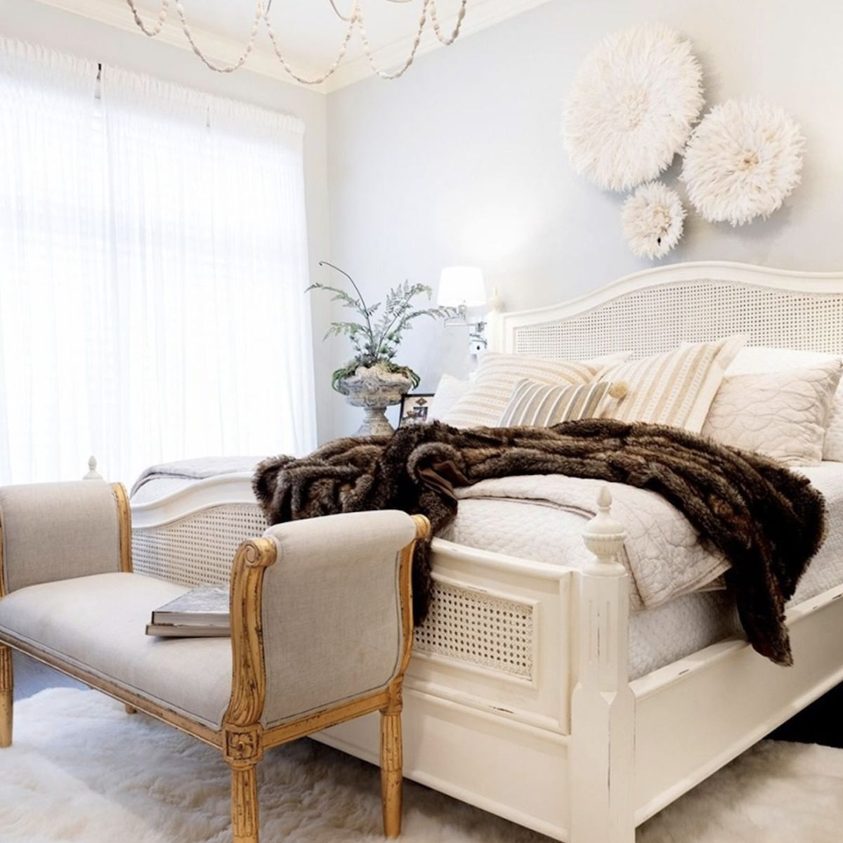 chic and romantic neutral bedroom