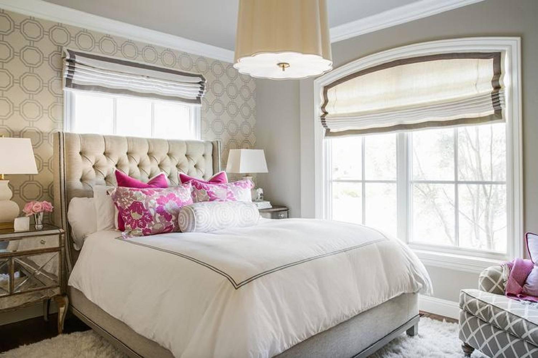 Romantic cream and pink bedroom