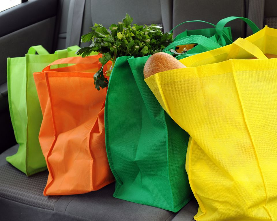 Four different colored cloth grocery bags
