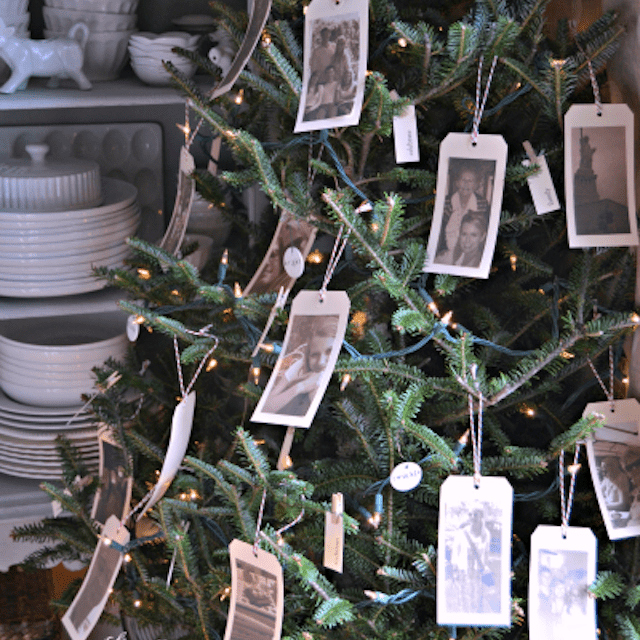 christmas tree with photos on it