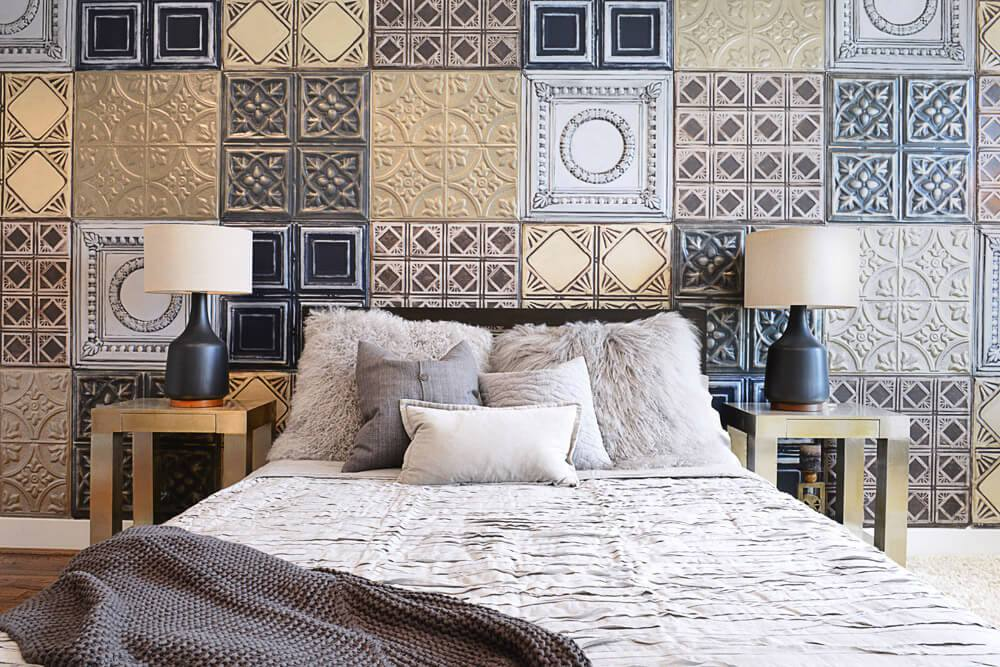 reclaimed ceiling tile feature wall
