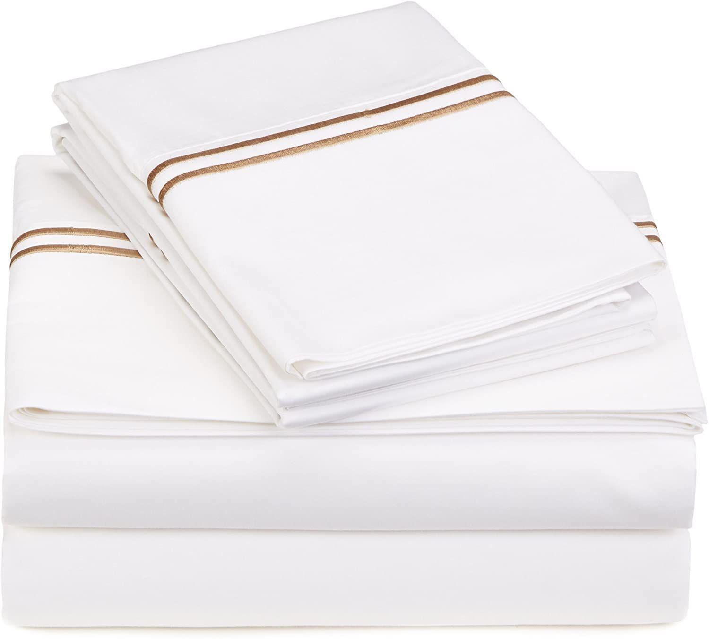 Pinzon 400-Thread-Count Egyptian Cotton Sateen Hotel Stitch Sheet Set
