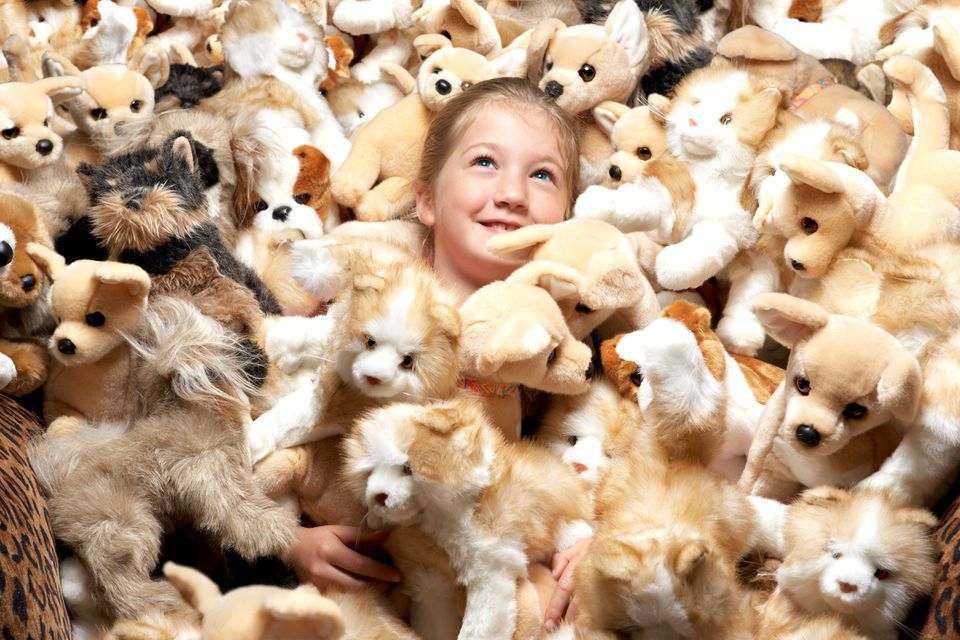 Little girl surrounded by dozens of stuffed animal dogs.