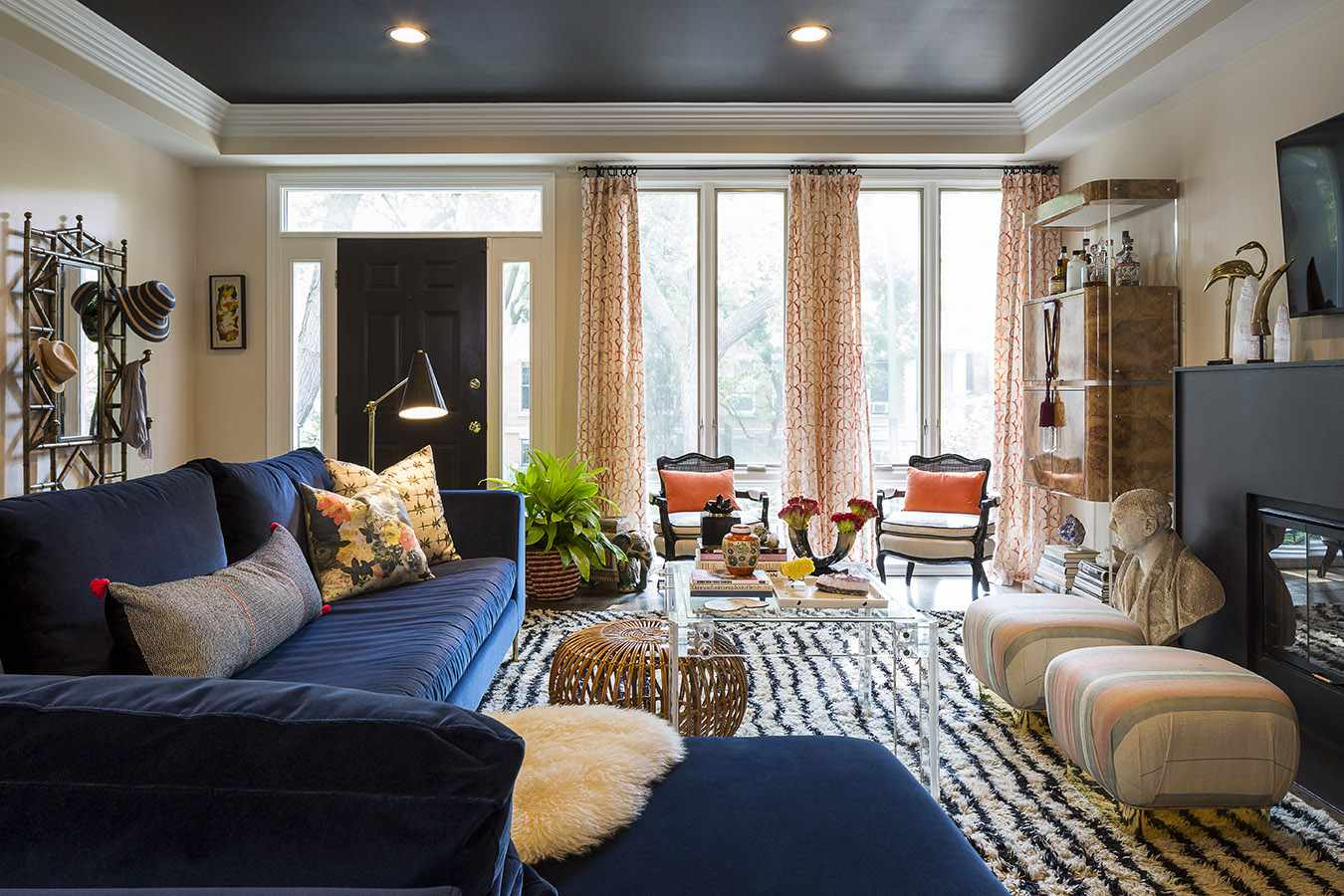 Colorful blue and orange living room