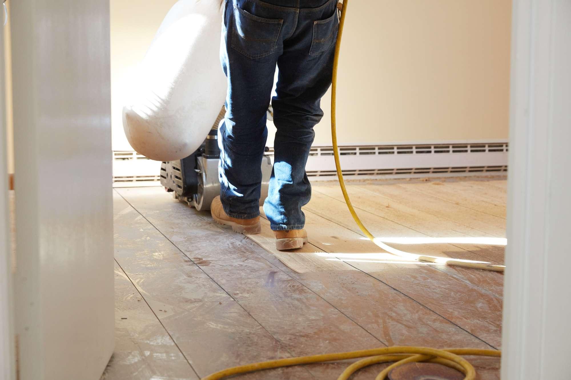 Floor professional refinishing old hardwood floor