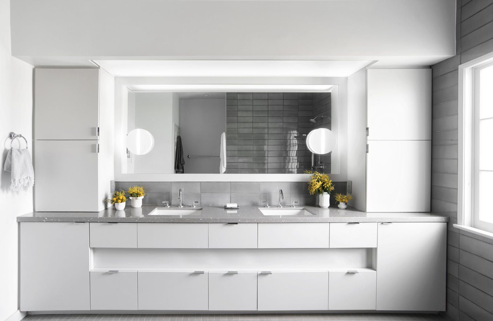 white wet room style bathroom with Nordic vibe