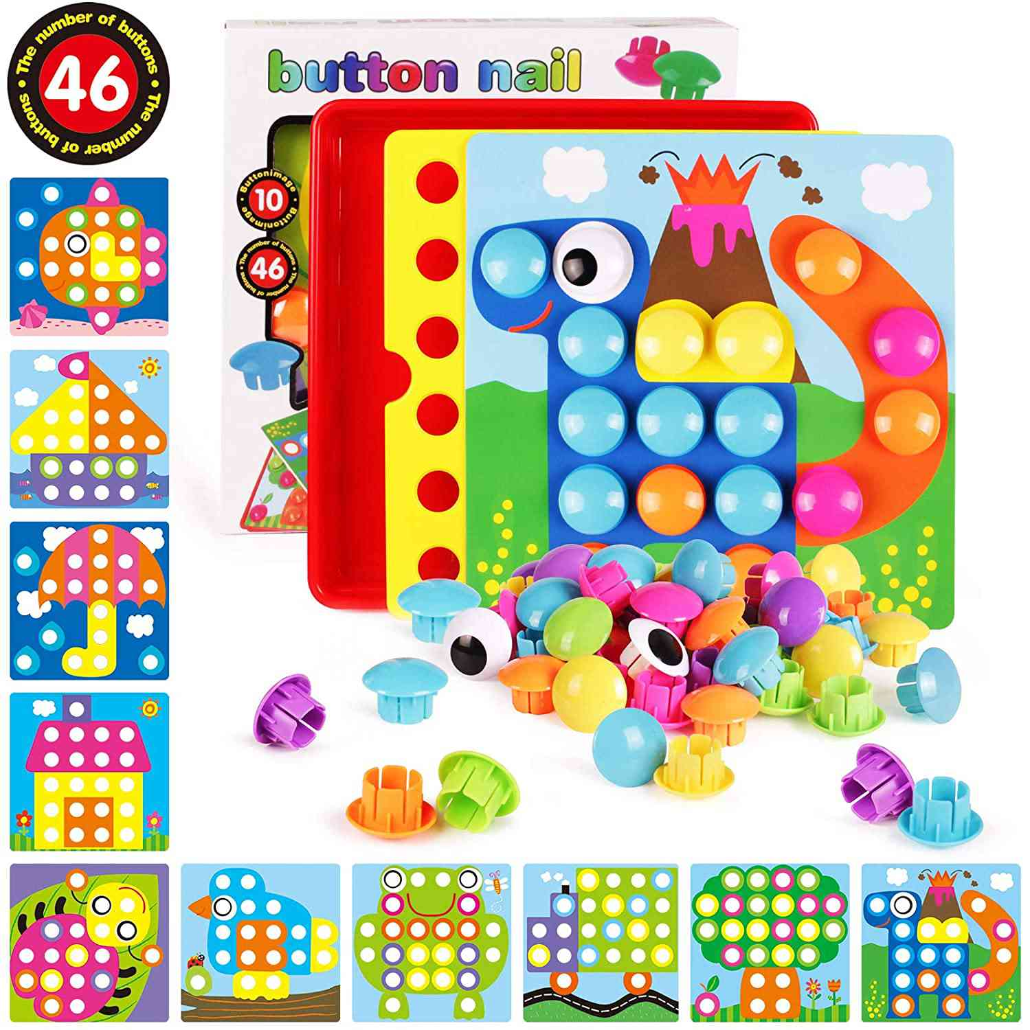 AMOSTING Button Art Color Matching Mosaic Pegboard