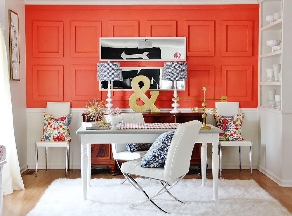 coral wall in home office