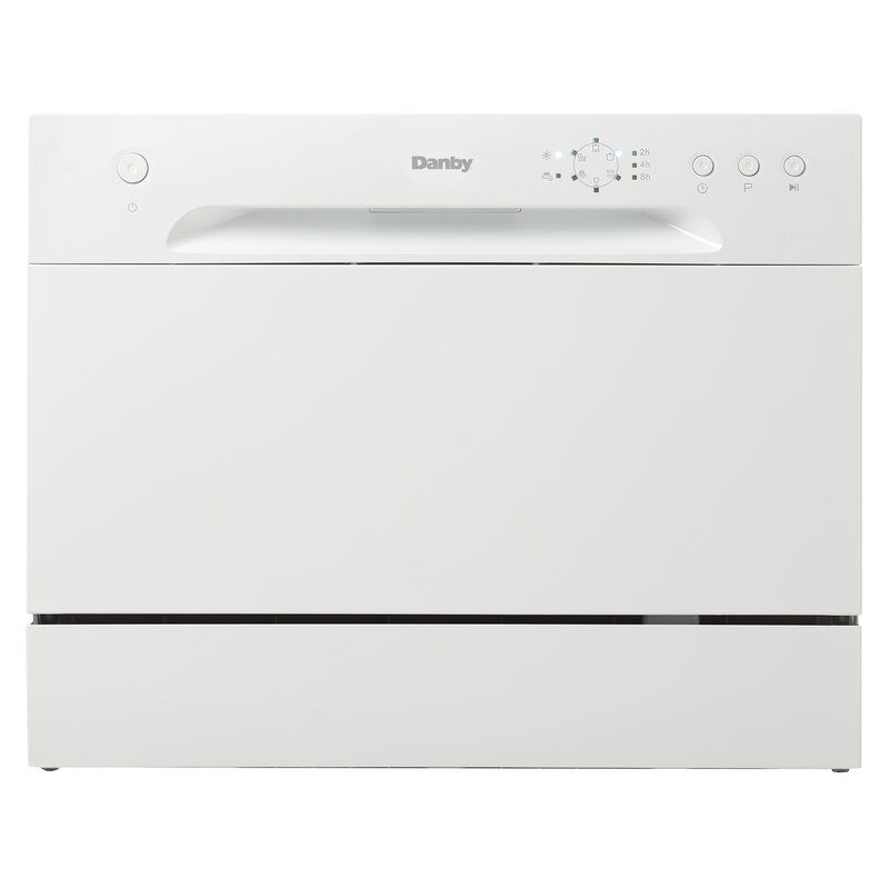 The Danby DDW621WDB 22 in. 52 dBA Countertop Full Console Dishwasher runs quietly and can fit well in a small living space.