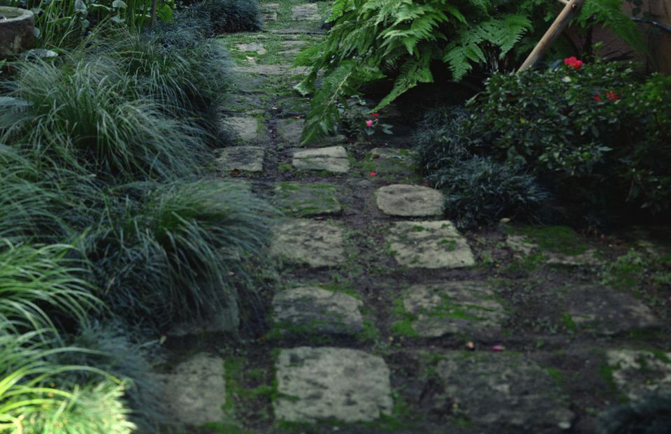 Paved stone path by house