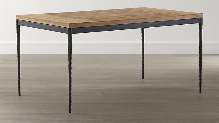 Crate Barrel Teak Top And Hammered Base Dining Table