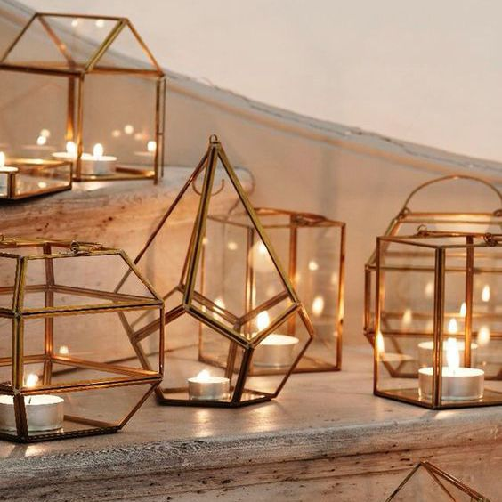 gold terrariums with candles