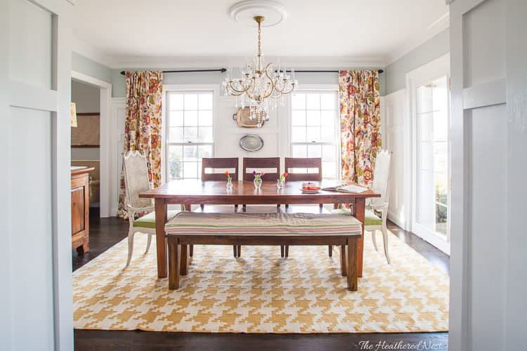 modern farmhouse, orange and yellow dining room, chandelier