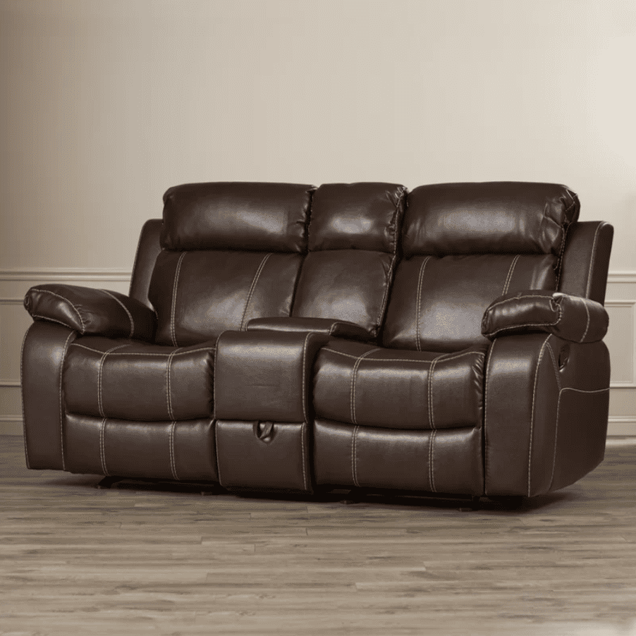 S Chestnut Double Gliding Reclining Sofa