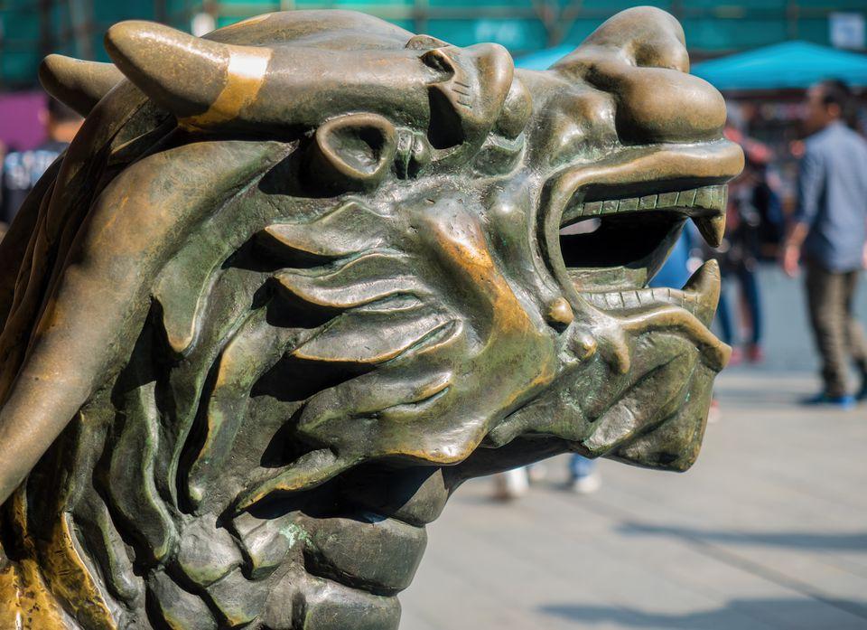 Chi Lin dragon statue.